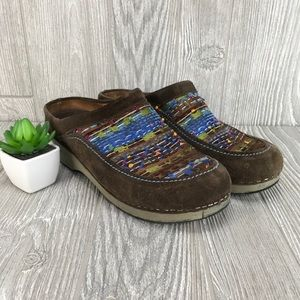 Dansko fabric/suede brown clogs, 39